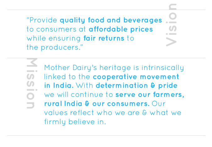 Vision - Provide quality food and beverages to consumers at affordable prices while ensuring fair returns to the producers.  Mission - Mother Dairy's heritage is intrinsically linked to the cooperative movement in India. With determination & pride we will continue to serve our farmers, rural India & our consumers. Our values reflect who we are & what we firmly believe in.